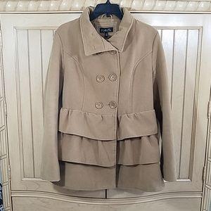 Rue21 Tan Ruffled Pea Coat, sz Large